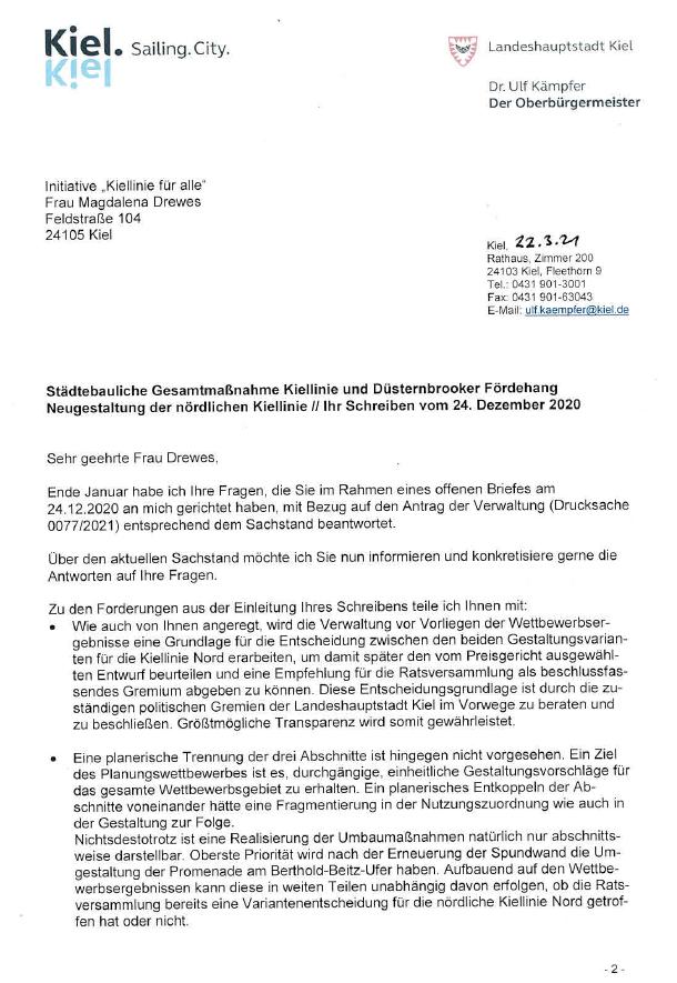 Antwort des OBs Dr. Kämpfer auf unseren offenen Brief